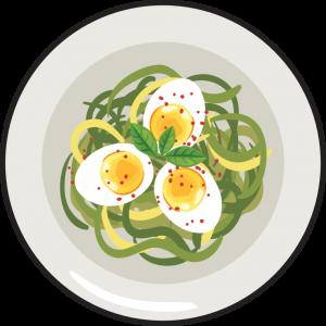 Spaghetti z pesto i jajkami